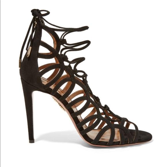 b78c3cf39b7 Aquazzura Ooh Lala lace-up suede sandals black 39 NWT